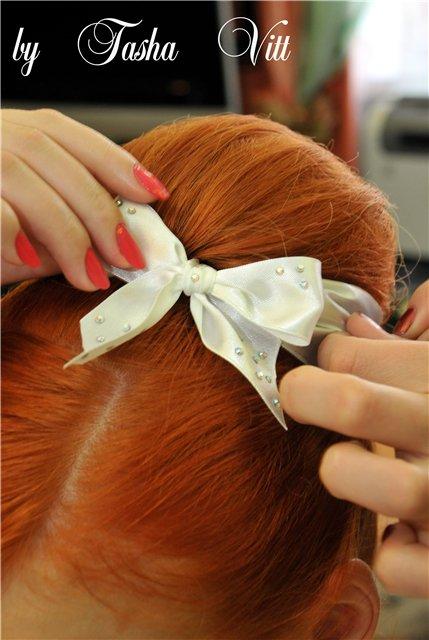 Как сделать причёску шишка-бантик