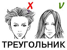 прически для треугольной формы лица
